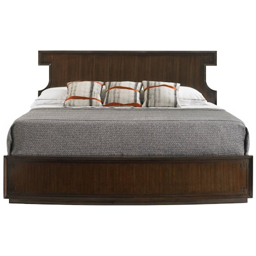 Stanley Furniture Crestaire California King Southridge Bed with Curved Headboard & Greek Key Motif