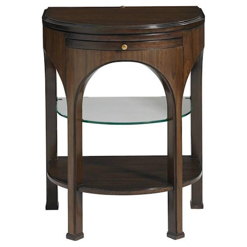 Stanley Furniture Crestaire Alexander Telephone Table with Demilune Glass Shelf & Touch Lighting