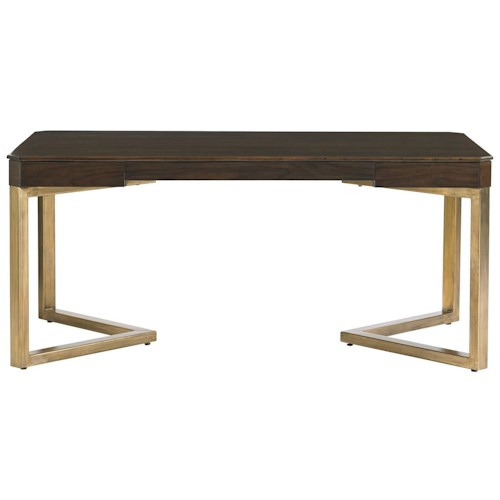 Stanley Furniture Crestaire Mid-Century Modern Vincennes Writing Desk with Angled Gold Leaf Finish Legs