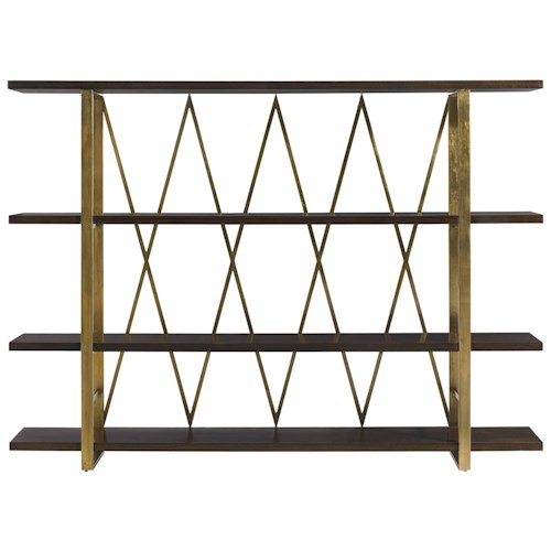 Stanley Furniture Crestaire Crosley Etagere with Adjustable Shelves & Gold Finish Accents