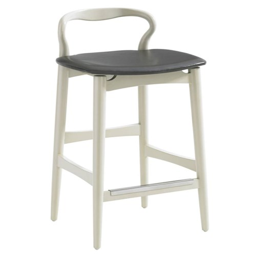 Stanley Furniture Crestaire Hooper Counter Stool with Leather Seat