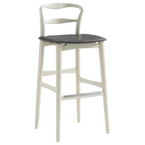 Stanley Furniture Crestaire Hooper Bar Stool with Leather Seat