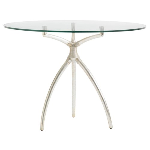 Stanley Furniture Crestaire Hovely Dining Table with Silver Leaf Finish & Round Glass Top