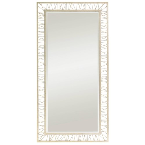 Stanley Furniture Crestaire Mid-Century Modern Silver Leaf Finish Palm Canyon Floor Mirror