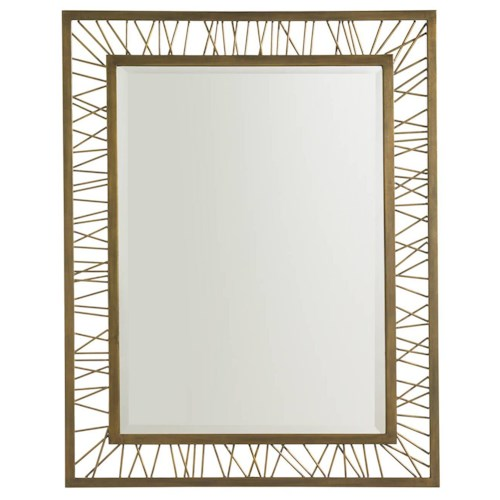 Stanley Furniture Crestaire Mid-Century Modern Gold Leaf Finish Palm Canyon Rectangular Mirror