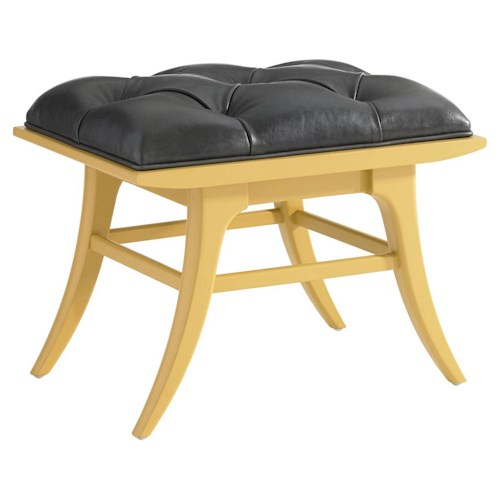 Stanley Furniture Crestaire Mid-Century Modern Lena Ottoman with Tufted Leather Top