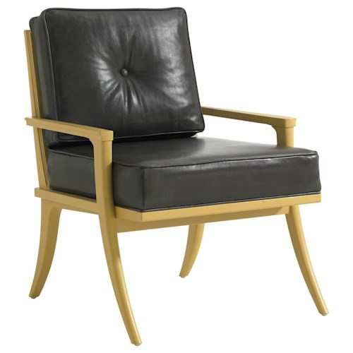 Stanley Furniture Crestaire Mid-Century Modern Lena Accent Chair in Slate Leather