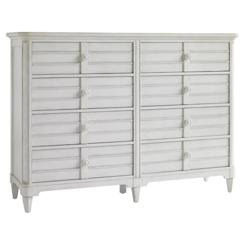 Stanley Furniture Cypress Grove  8 Drawer Cottage Style Dresser with Louvered Drawer Fronts