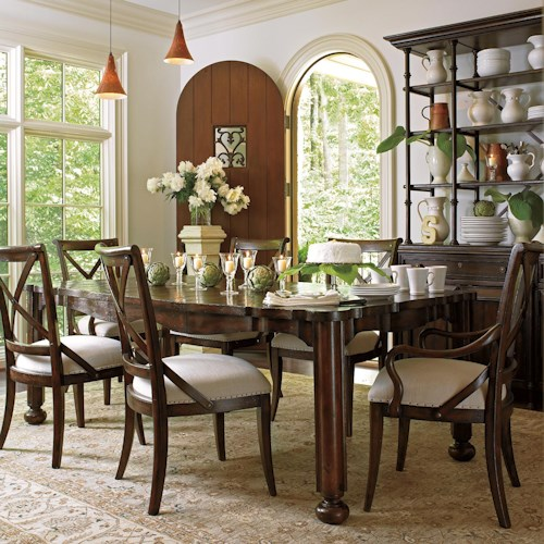 Stanley Furniture European Farmhouse 7 Piece Farmer's Market Table & Fairleigh Fields Chairs
