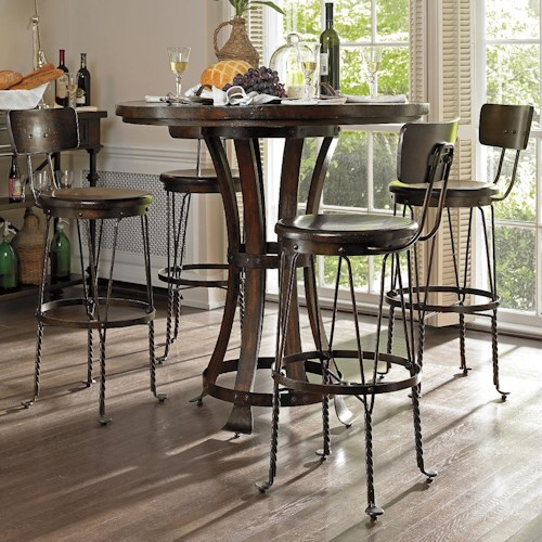 Stanley Furniture European Farmhouse 5 Piece Winemaker's Tasting Table & Artisan's Apprentice Barstools Set
