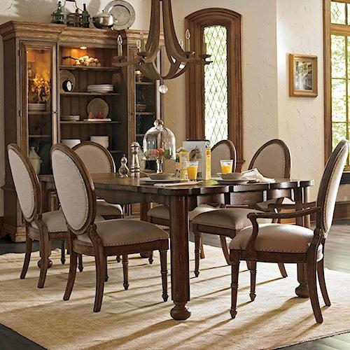 Stanley Furniture European Farmhouse 7 Piece Farmer's Market Table & Million Stars Chairs Set