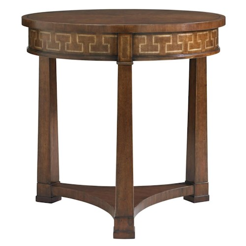 Stanley Furniture Fairfax Round Lamp Table with Greek Key Maple Inlay
