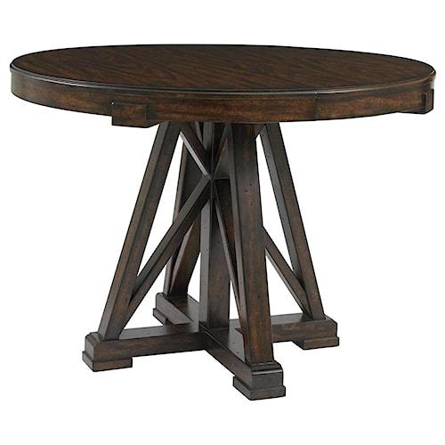Stanley Furniture Newel Round Pedestal Table with Cathedral White Oak Veneer Top & Leaf