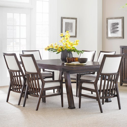 Stanley Furniture Newel 7-Piece Rectangular Dining Table Set with Upholstered Back Chairs