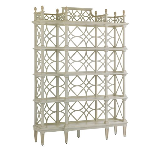 Stanley Furniture Preserve Botany Etagere with Chinese Chippendale Fretwork