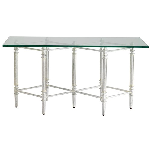 Stanley Furniture Preserve Gardiner Cocktail Table with Hand-Applied Silver Finish Base & Glass Top