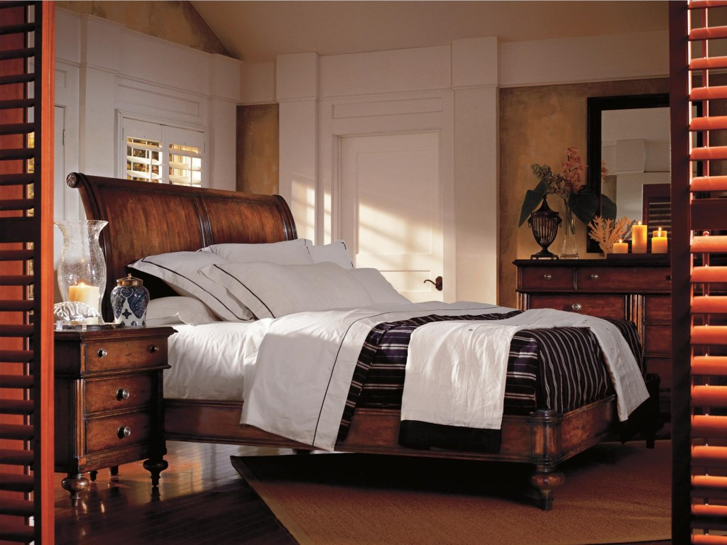 Dresser paired with Landscape Mirror and Shown with Sleigh Bed and Night Stand