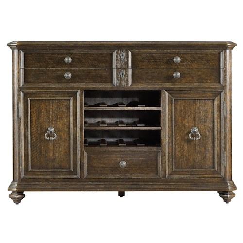 Stanley Furniture Rustica Dining Cabinet w/ Wine Staves & Felt Lined Drawers