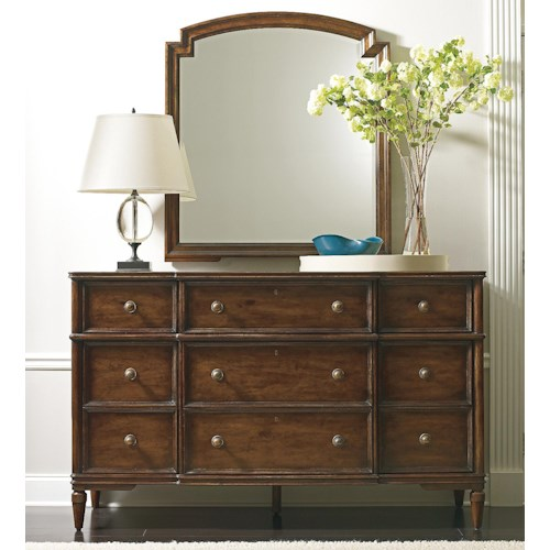 Stanley Furniture The Classic Portfolio - Vintage Antiqued Dresser & Mirror Set