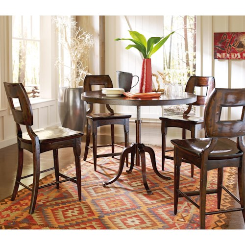 Stanley Furniture The Classic Portfolio Artisan 5 Piece Adjustable Height Table and Counter Stools