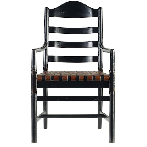 Stanley Furniture The Classic Portfolio Artisan Ladderback Arm Chair with a Woven Belt Leather Seat