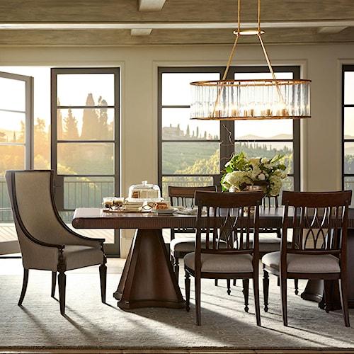 Stanley Furniture Villa Couture 7-Piece Dante Double Pedestal Table Set