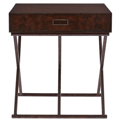 Stanley Furniture Villa Couture Rocco End Table with 1 Drawer & Antique Bronze Metal Base