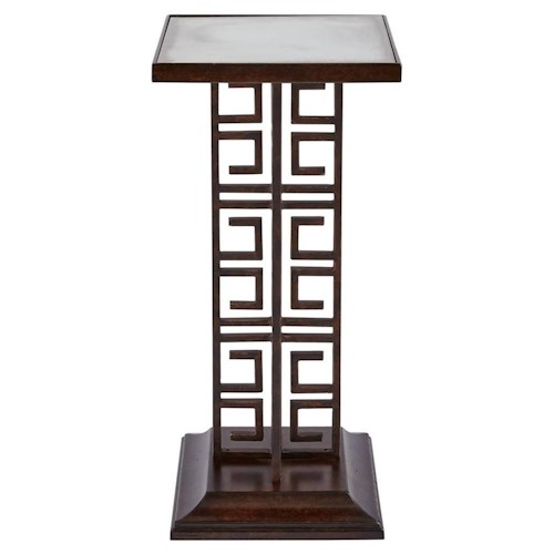 Stanley Furniture Villa Couture Veronica Table with Antiqued Mirror Top and Greek Key Pedestal Base