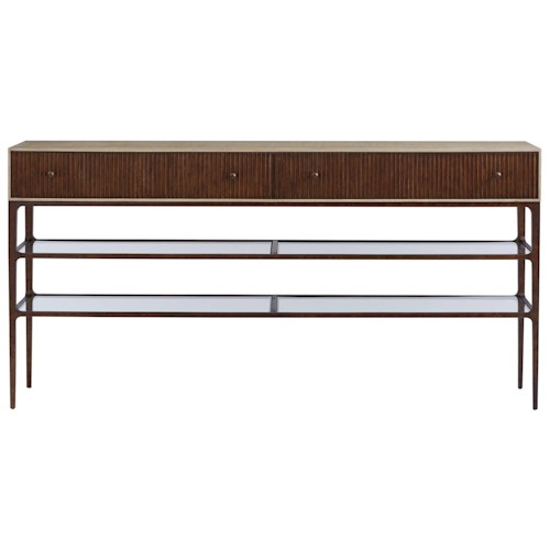 Stanley Furniture Villa Couture Serena Sideboard with 2 Glass Shelves & Metal Frame