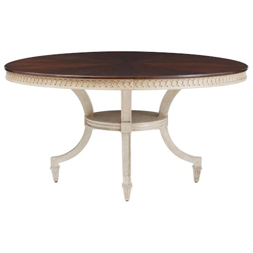 Stanley Furniture Villa Couture Two-Tone Ana Round Table with Carved Apron