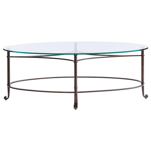 Stanley Furniture Villa Couture Fabi Cocktail Table with Oval  Lay-On Glass Top