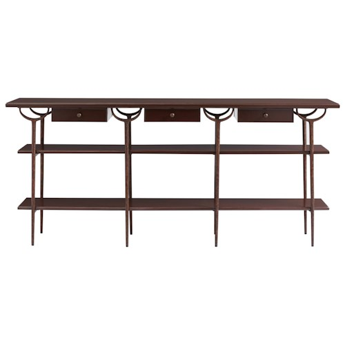 Stanley Furniture Villa Couture Asti Console Table with Antique Bronze Metal Frame