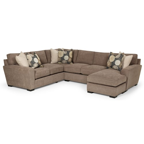 Stanton 282 Casual Sectional Sofa With Chaise And Rolled Arms Gallery Furniture Sofa Sectional
