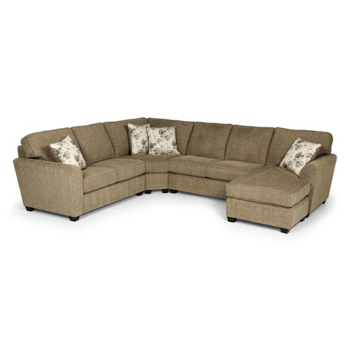 Stanton 643 casual three piece sectional sofa with laf for 3pc sectional with chaise