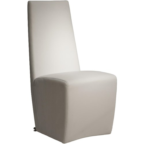 Star International Ritz Tobi Dining Side Chair in Pure White Synthetic Leather with Baseball Stitching Detail