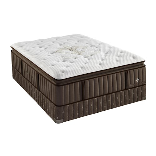 Stearns & Foster Salvatierra Luxury Cushion Firm Euro Pillow Top Queen Firm Euro Pillow Top Mattress and Low Profile Box Spring