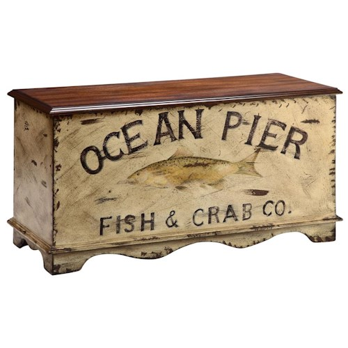 Morris Home Furnishings Accent Tables Ocean Pier Painted Trunk