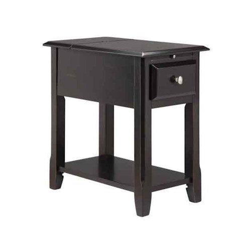 Morris Home Furnishings Accent Tables 1-Drawer Chairside table in ebony finish