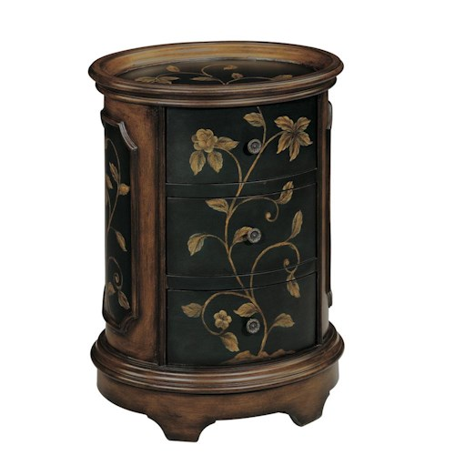 Morris Home Furnishings Accent Tables Brown and Black Oval End Table with Floral Motif