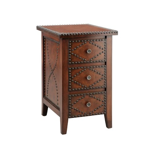 Morris Home Furnishings Accent Tables Chairside 3 Drawer Brown With Nailhead
