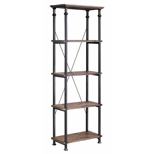 Morris Home Furnishings Bookcases Metal Bookcase w/ 4 Wood Shelves