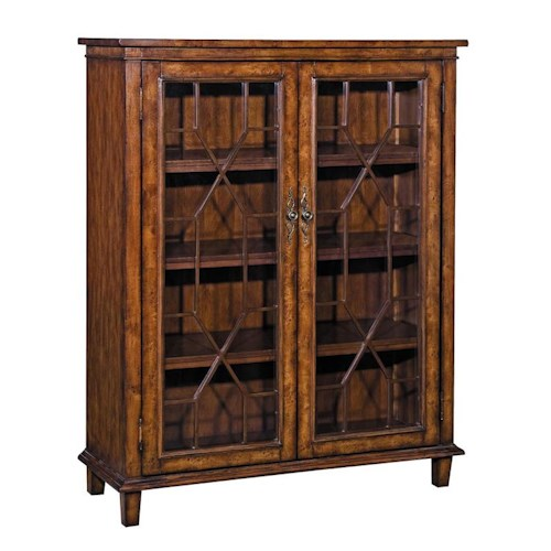 Stein World Bookcases Chippendale Style Bookcase with 4 Shelves and 2 Glass Doors