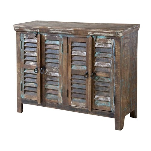 Morris Home Furnishings Cabinets Louvered 4-Door Cabinet