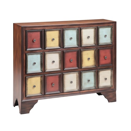 Morris Home Furnishings Cabinets 3-Drawer Multi-Colored Cabinet