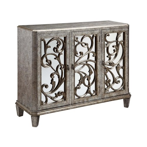 Morris Home Furnishings Cabinets Leslie Mirrored, 3 Door Cabinet