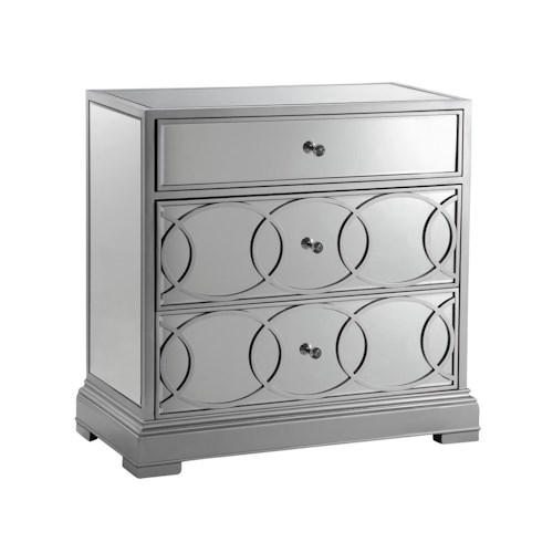 Morris Home Furnishings Cabinets Mirrored Storage Cabinet in Silver Finish