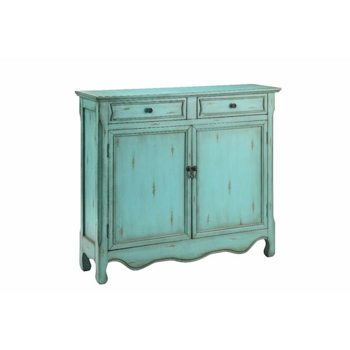 Morris Home Furnishings Cabinets Cupboard 2 Door, 2 Drawer in Antique Blue