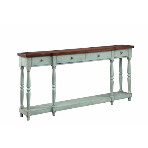 Morris Home Furnishings Cabinets 4 Drawer Console Caribbean Mist