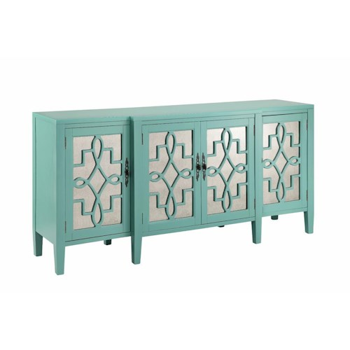 Morris Home Furnishings Cabinets 4 Door Mirrored Credenza in Robin's Egg Blue