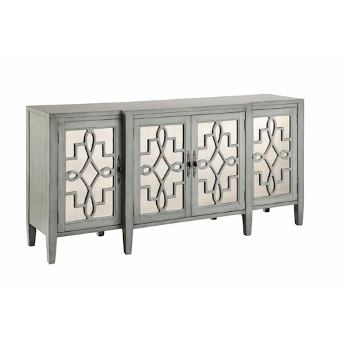 Morris Home Furnishings Cabinets 4 Door Mirroed Credenza in Sage Gray